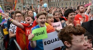 Gay people celebrate the Marriage Referendum being backed by the Irish people