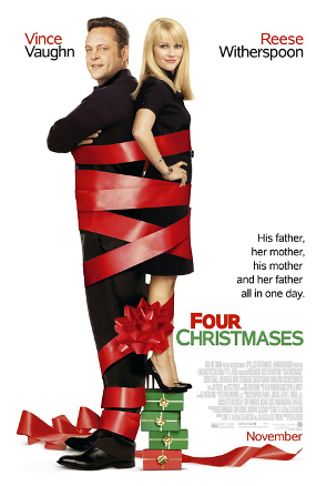"""Four Christmases-Movie Poster"" by Source. Licensed under Fair use via Wikipedia - https://en.wikipedia.org/wiki/File:Four_Christmases-Movie_Poster.PNG#/media/File:Four_Christmases-Movie_Poster.PNG"
