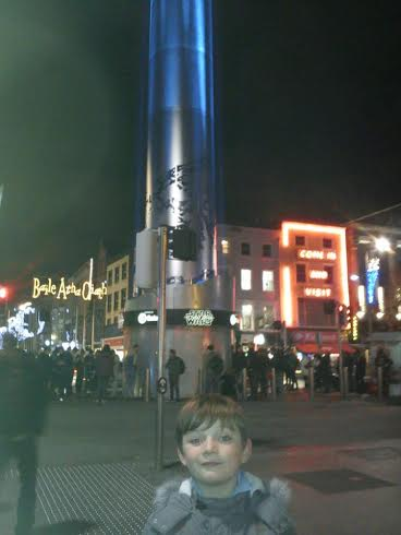 Jude hanging out at the Spire on O'Connell Street