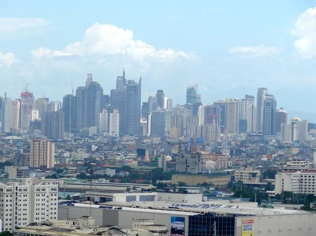 The skyline across Manila filled with skyscrapers