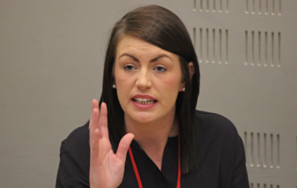 Erica has become a passionate orator after speaking at the Sinn Fein Ard Fheis, on TV and at protests