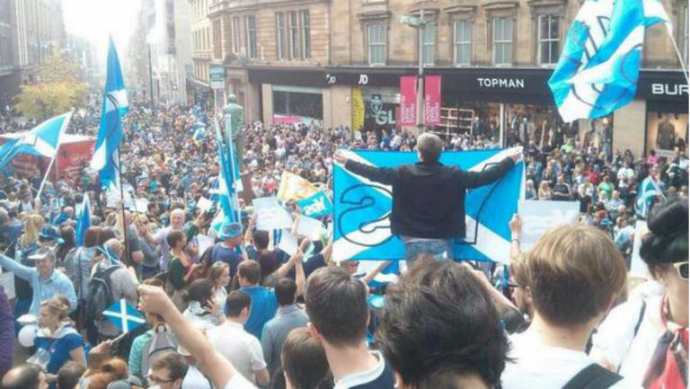 Yes Supporters pictured on STV Scotland
