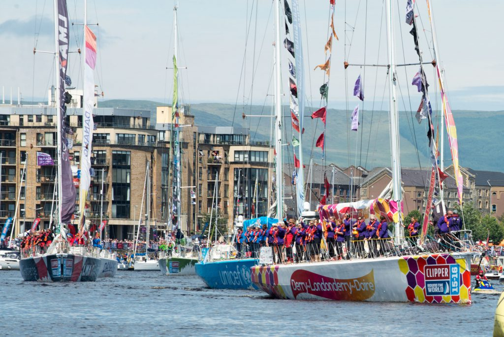 The Parade of Sail as the Clipper fleet leaves the River Foyle in Derry-Londonderry.Picture Martin Mckeown. Clipper-ventures.