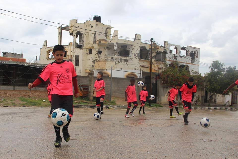The children of the Al Helal football club in Gaza