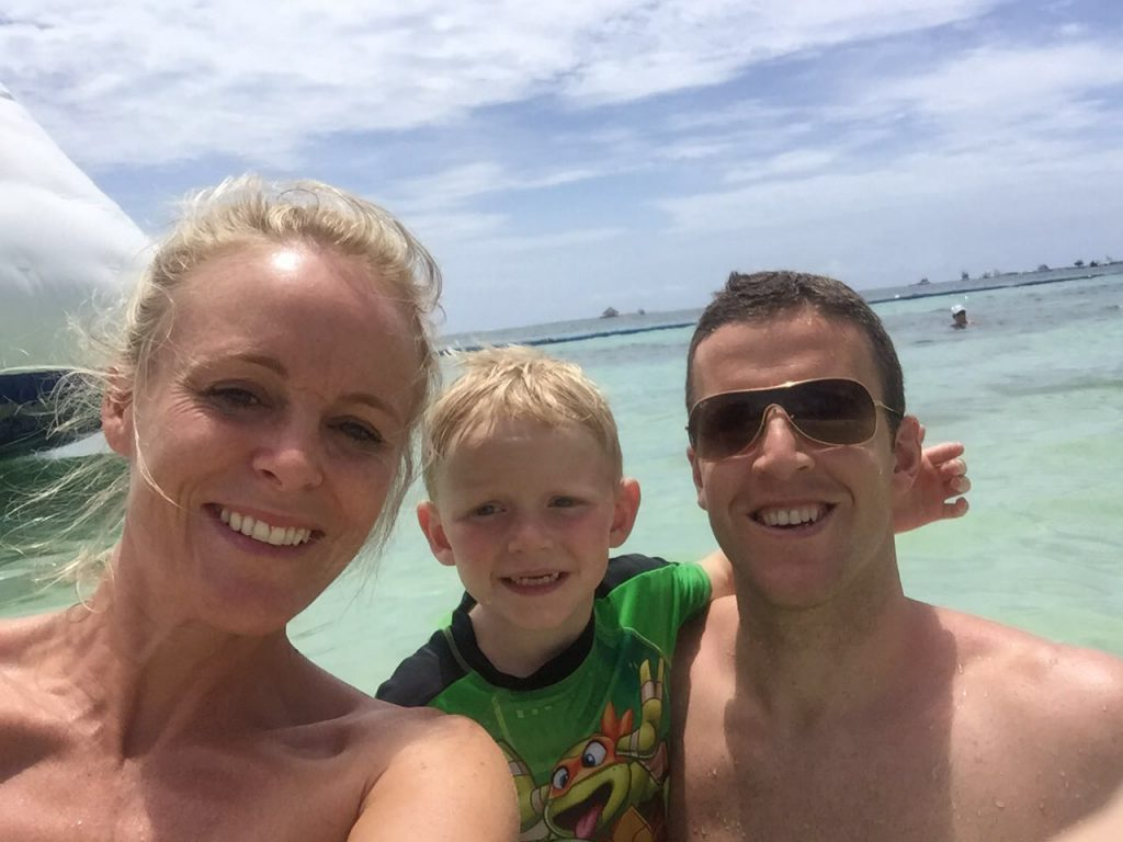 Becky, Colin and Liam on holiday.