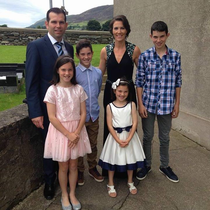 The musical father, Dermot with his musical son, Cormac and Cormac's mother, Johanne, along with Cormac's siblings