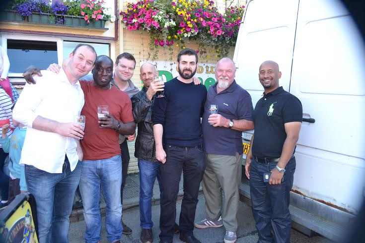 Paul McCauley and his pals, Sammy, Neway, John Joe and Paddy, at the festival.