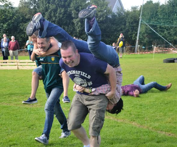 Good try:  Wife carrying losers Eugene O'Donnell and Maria McColgan no doubt needed a drink after that!