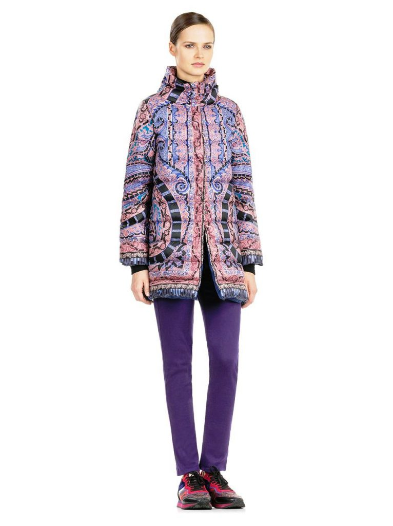 Sleek and beautiful, the Etro long down jacket