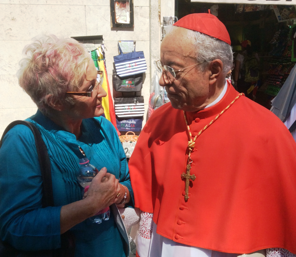 Maureen Forrest talking to Cardinal Manuel Clemente from Portugal at the Vatican