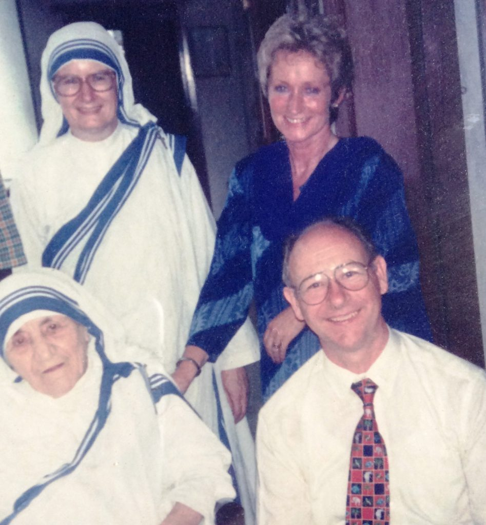 Left to right back row, Sr Nirmala Marie, Maureen Forrest. Front row, Mother Teresa, the Irish Ambassador to Delhi, Jim Flavin.