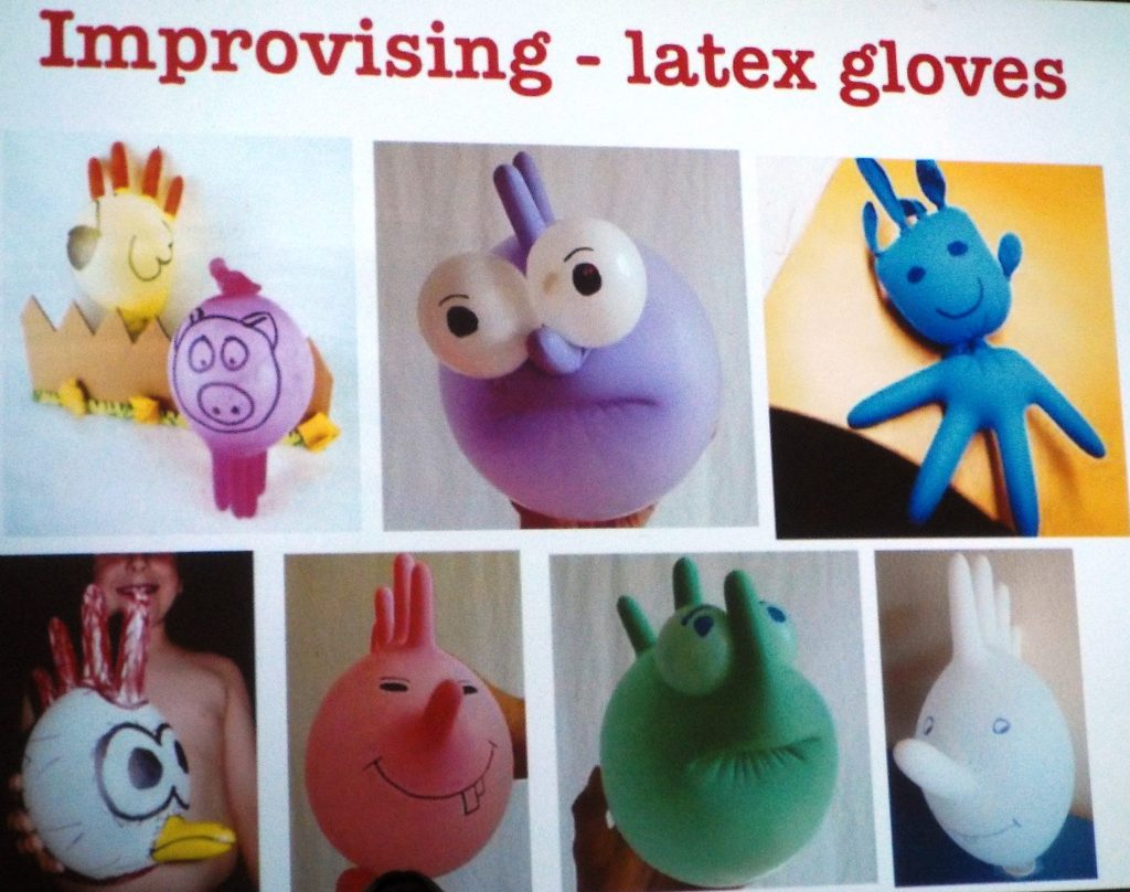 Putting a smile on sick children's faces, even with such a simple thing as a surgical glove puppet