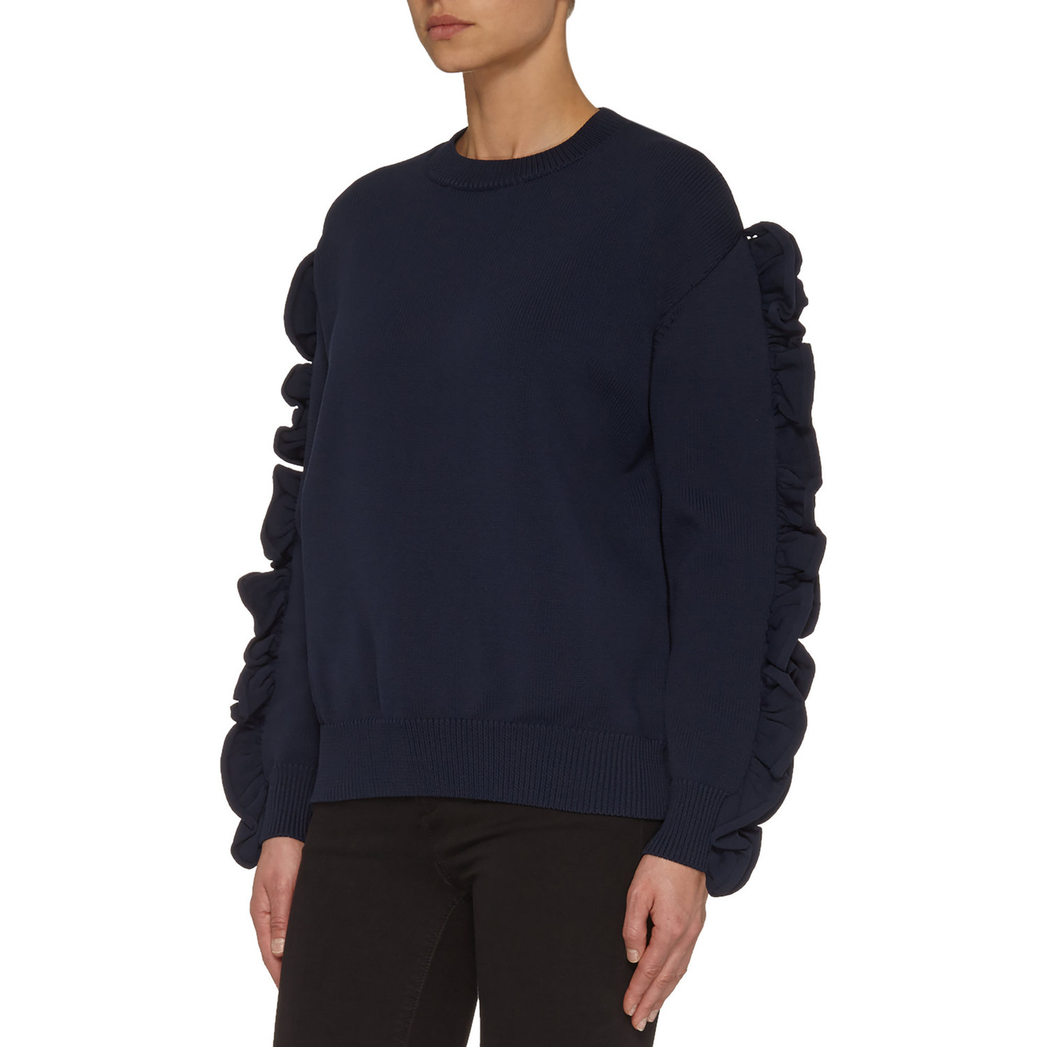 Victoria Beckham; Ruffle Sleeve Sweater €390; Brown Thomas http://www.brownthomas.com/brown-thomas-navigation-catalog/ruffle-sleevesweater/17x3963xkntvv014navy.html?cgid=root#q=ruffle&lang=default&start