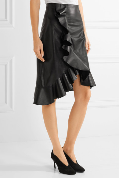 Lanvin; Asymmetrical Ruffled Leather Skirt €1965; Net-a-porter https://www.net-a-porter.com/ie/en/product/755865/Lanvin/asymmetric-ruffled-leather-skirt