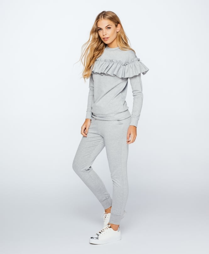 Wardrobe Wilderness; Ruffle Loungewear Co-ord €35 https://wardrobewilderness.com/collections/lounge-wear/products/ruffle-loungewear-co-ord-grey