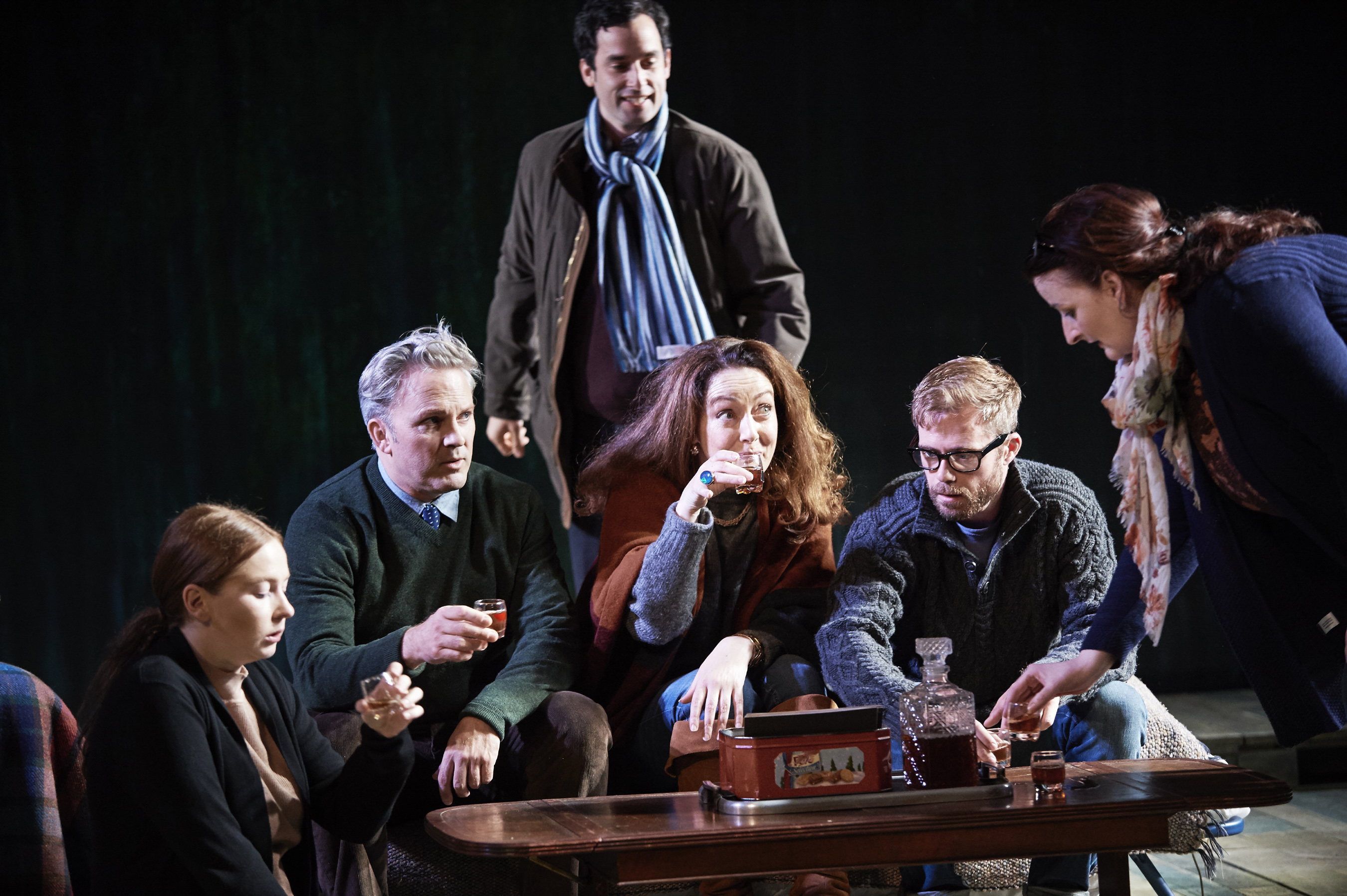 Imogen Doel,  Louis Lovett,  Stephen Mullan,  Derbhle Crotty, Rory Keenan,  Anna Healy in The Seagull by Anton Chekhov in a new version by Michael West and Annie Ryan at the Gaiety Theatre preview 5 Oct, opens 6th Oct and runs until 16 Oct as part of Dublin Theatre Festival  Credit Ros Kavanagh