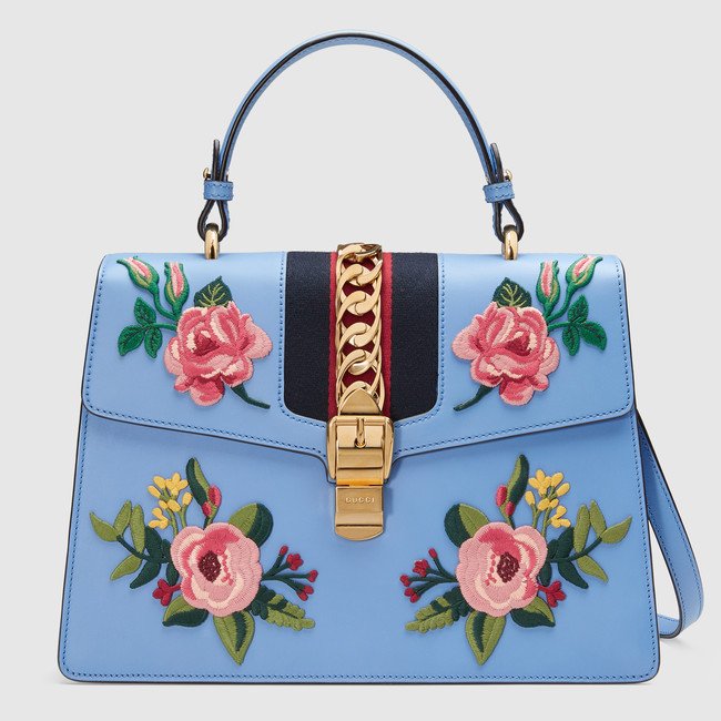 Sylvie Embroidered  Leather Top Handle Bag; Gucci €2900 https://www.gucci.com/ie/en_gb/pr/women/handbags/womens-top-handles/sylvie-embroidered-leather-top-handle-bag