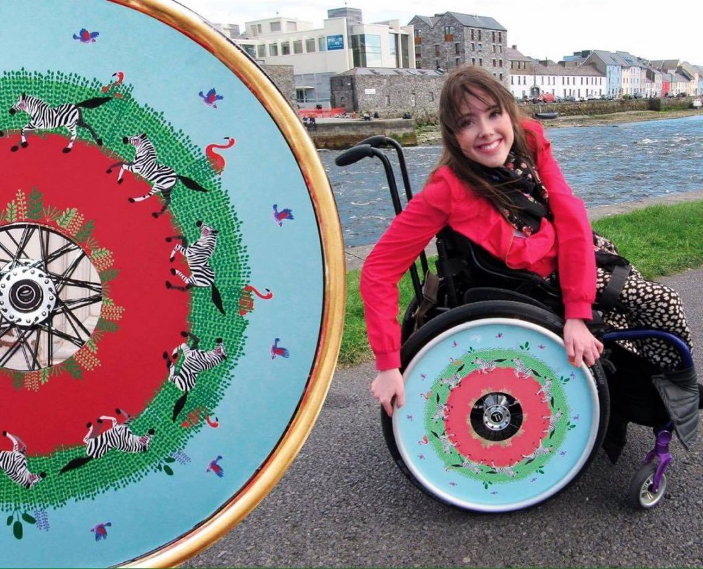 Isabel Keane modelling one of her sister Ailbhe's Izzy Wheels' covers