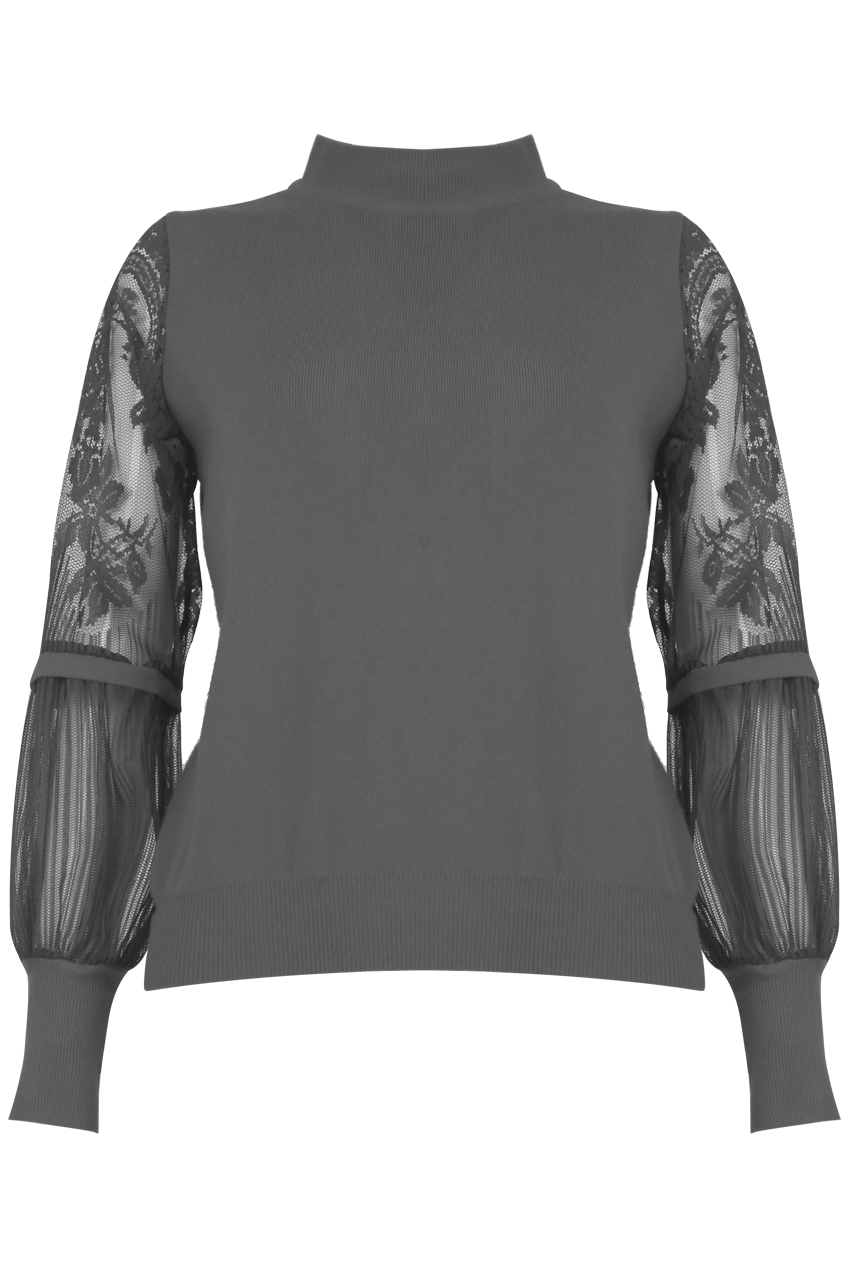 Embroidered Chiffon Sleeve Jumper; Wardrobe Wilderness €35 https://wardrobewilderness.com/collections/knitwear/products/embroidery-chiffon-sleeve-knit-grey