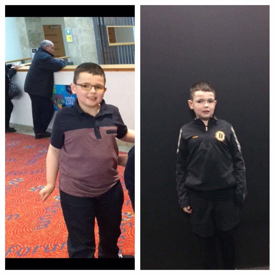 Before and after: Adrian has made startling progress since he first attended SMC Health and Fitness earlier this year